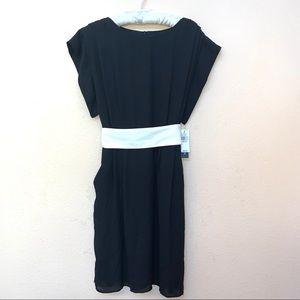 AB Studio Black Tuxedo White Sash Belt Dress NWT